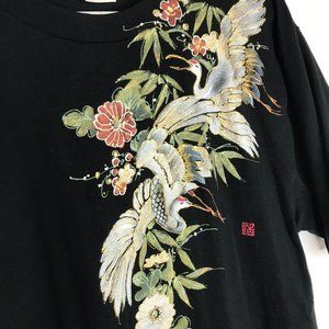 Printstan Asian Cranes Artwork Black T-Shirt Large
